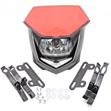 FXCNC Motorcycle Headlight LED 12V 35W H4 Universal Fits All Dual Sport Motorcycles, Dirt Bikes, Street Fiighter, Naked Motorcycles Red