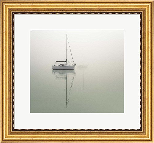 Sailboats by Nicholas Bell Photography Framed Art Print Wall Picture, Wide Gold Frame with Hanging Cleat, 22 x 20 inches