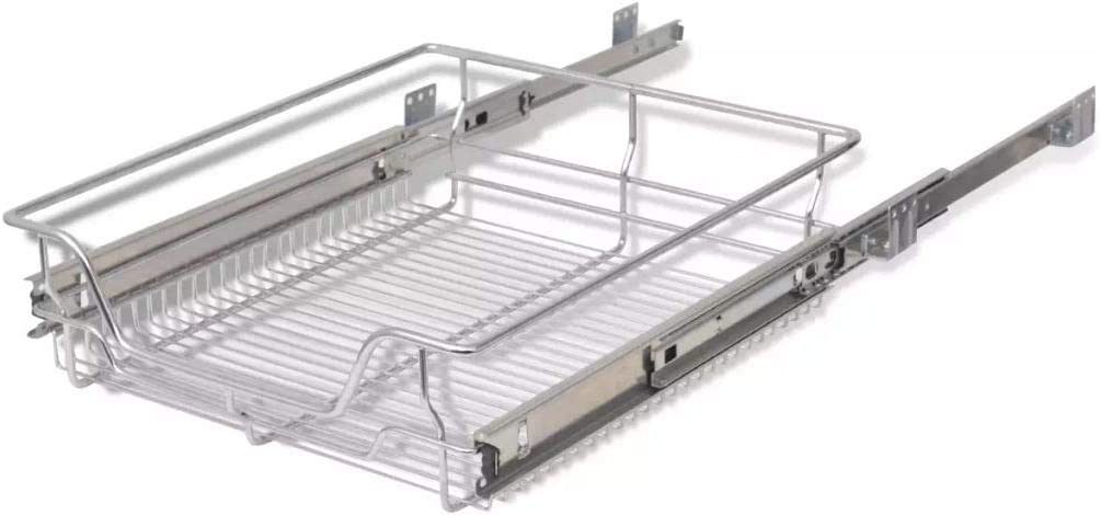 Polished Chrome-Plated Pull-Out Wire Organizer Baskets Storage Rack Holder Drawer for Kitchen Base Cabinets 300mm 2 Pcs Kitchen Sliding Cabinet