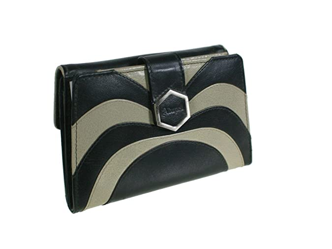 CAL FUSTER - Monedero Cartera Señora de Piel Bicolor Negro. Medidas: 15x15x4 cm.: Amazon.es: Zapatos y complementos