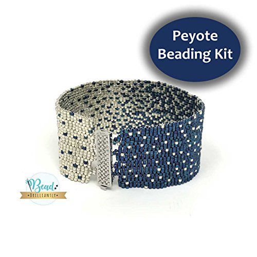 DIY Beading Kit - Blue and Silver Beaded Bracelet, Peyote Bracelet Kit, Beading Patterns, DIY Beading Kit, Peyote Pattern, DIY Kit, All Supplies Included (Bracelet Bead Peyote)