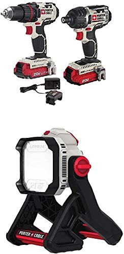 PORTER-CABLE PCCK602L2 20V MAX Lithium 2 Tool Combo Kit with PCCL500B 20V MAX Corded Cordless LED Area Light