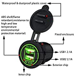 MIYA LTD Dual USB Charger Socket Power Outlet, 2.1A &2.1A(4.2A) Waterproof Car Power Outlet Adapter 5V with Dustproof Rain Cover for 12V/24V Boat Motorcycle - Green
