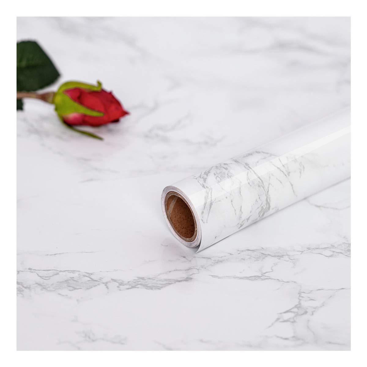 Hode Papel Marmol, 45 cm × 200 cm, Papel Mármol, Vinilo Muebles Marmol Papel Pintado Cocina Autoadhesivo,Papel Adhesivo para Muebles,Blanco 45 cm × 200 cm Papel Mármol