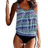 Mandystore Women Bandeau Bikini Top Plus Size Printed Tankini Swimwear Swimsuit Bathing Suit for Women (XL, Blue)