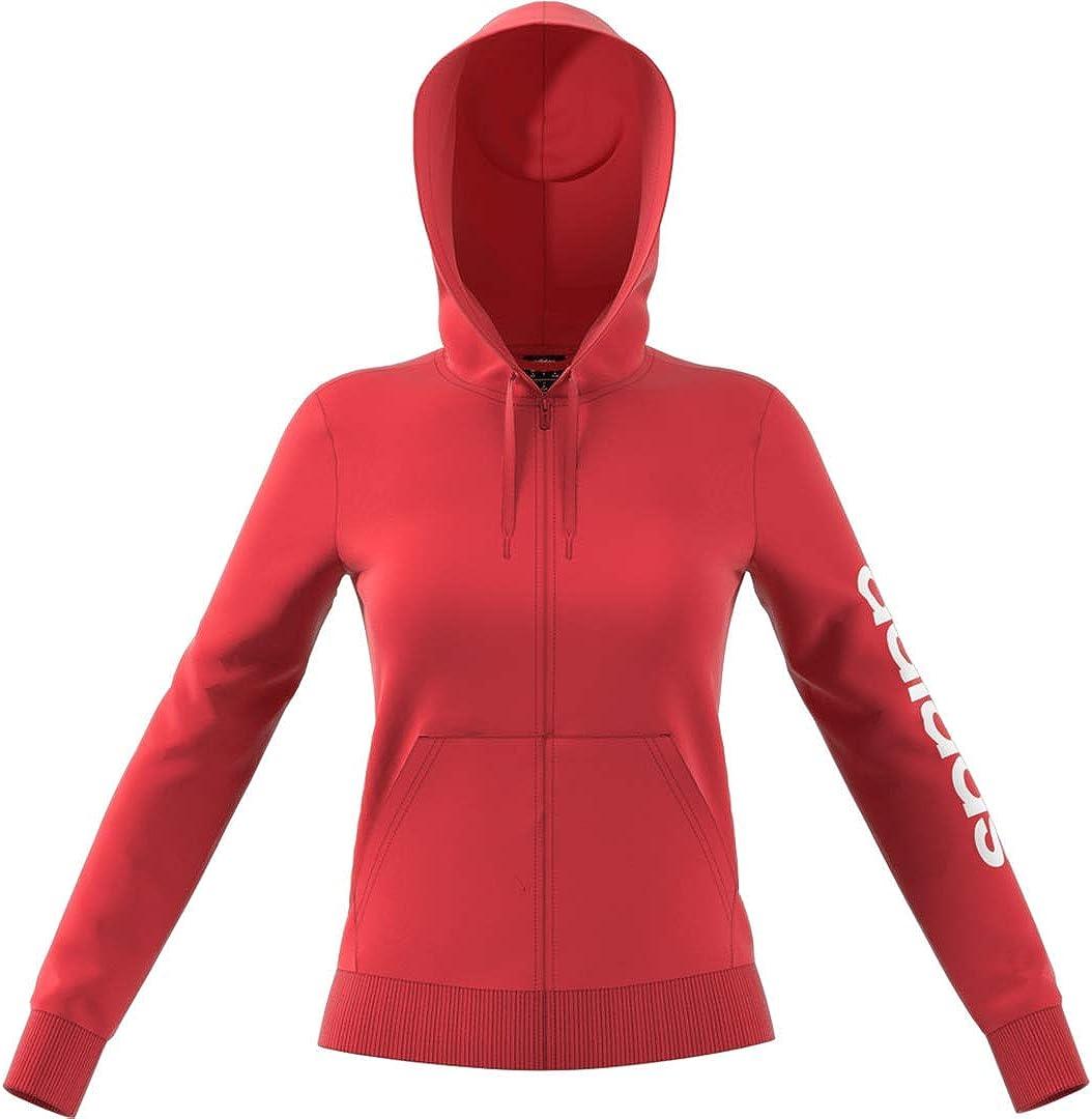 adidas Damen Essentials Linear Full Zip Hoodie Jacke Glory Red
