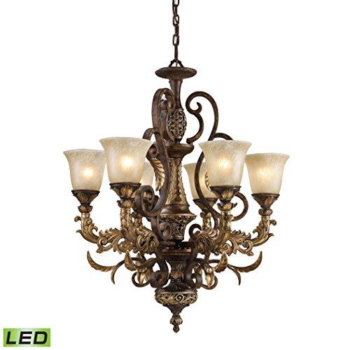 Alumbrada Collection Regency 6 Light LED Chandelier In Burnt Bronze And Gold Leaf (Leaf Gold Sconce Burnt)