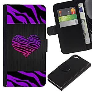 All Phone Most Case / Oferta Especial Cáscara Funda de cuero Monedero Cubierta de proteccion Caso / Wallet Case for Apple Iphone 6 // Stripes Heart Brushed Metal Purple