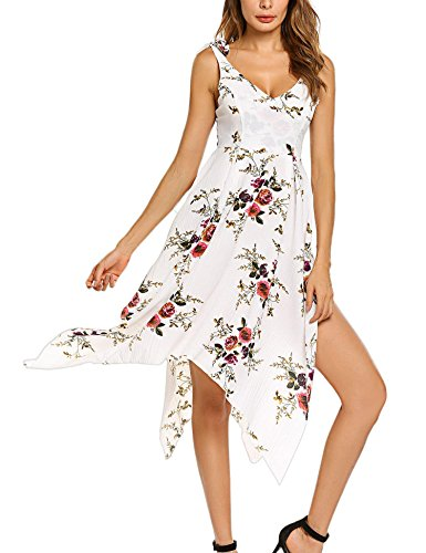 Deep BEAUTEINE White Bohemian Neck V Assymetrical Dress Floral Vintage Hem Long Dress tUpUq