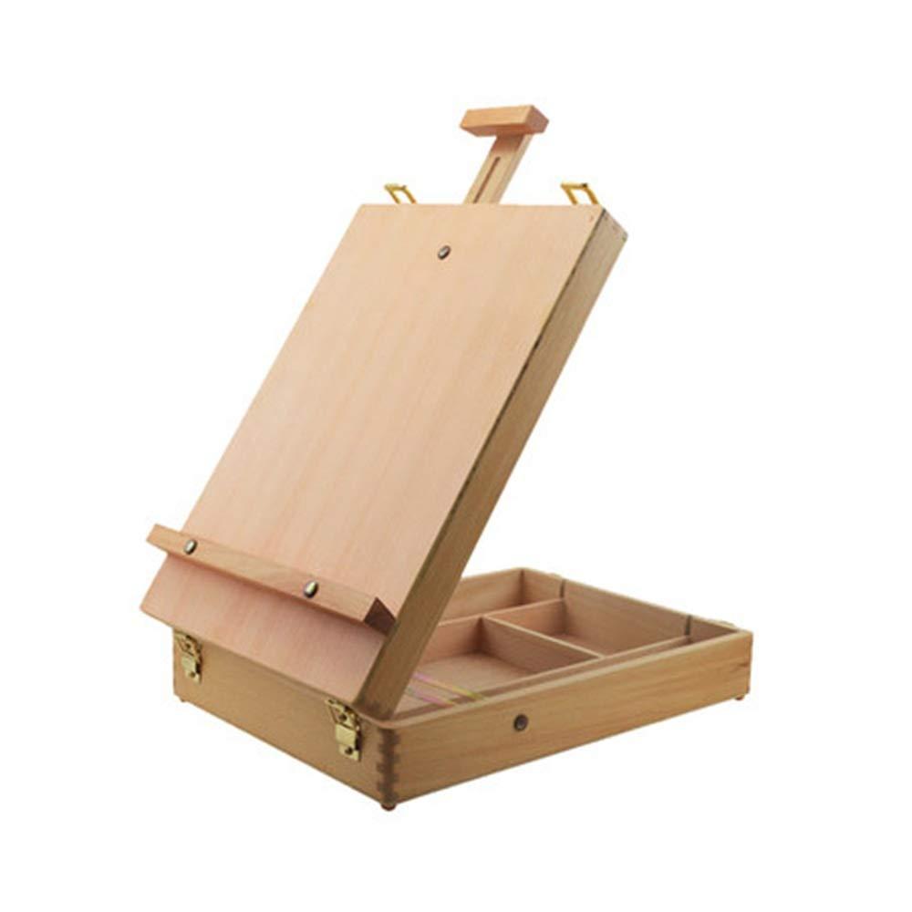 イーゼル 調節可能 木製テーブル スケッチボックス イーゼル ブナ材 - ポータブル木製アーティストデスクトップ収納ケース - アートペイント マーカー スケッチパッド - 描画用ボックス One Size Opbsite One Size バーリーウッド(Burlywood) B07R9SY85G