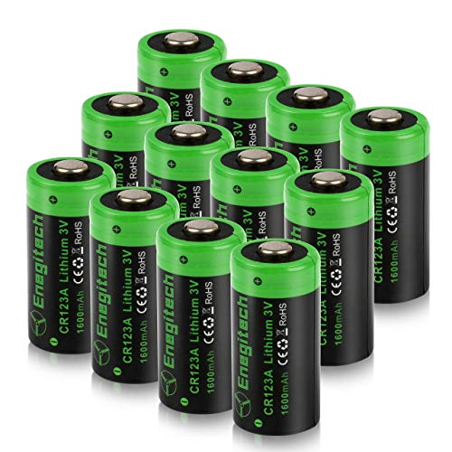 Cr123a Torch Flashlight - CR123A 3V Lithium Battery, Enegitech Upgrade 1600mAh 12Pack CR123A Batteries Non-Rechargeable with PTC Protection for Photo Camera Flashlight Torch Microphones