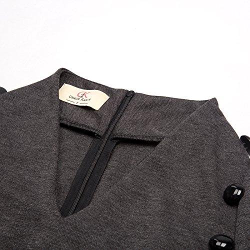 Women Belted GRACE Sleeve Business Vintage Dress Grey KARIN Pencil Slim Short Fit wFqZg