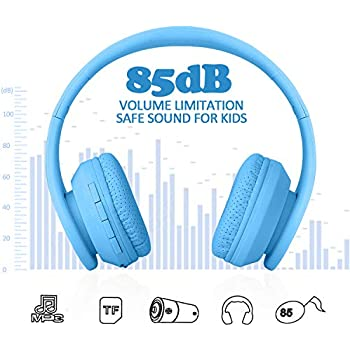 Kids Bluetooth Headphones, Wireless/Wired Foldable Adjustable Lightweight Headset with Mic, Noise Reduction Cancelling, for Phones Computer for ...