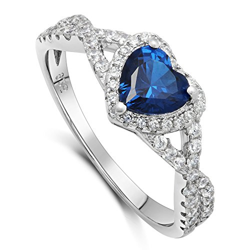 Sterling Silver Heart Shape CZ Promise Ring - Created Sapphire (6) (Heart Sterling Shape)
