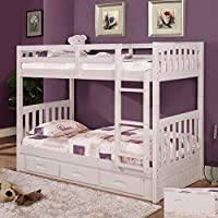 American Furniture Classics Twin Over Bunk Bed with 3 Drawers, Medium, White