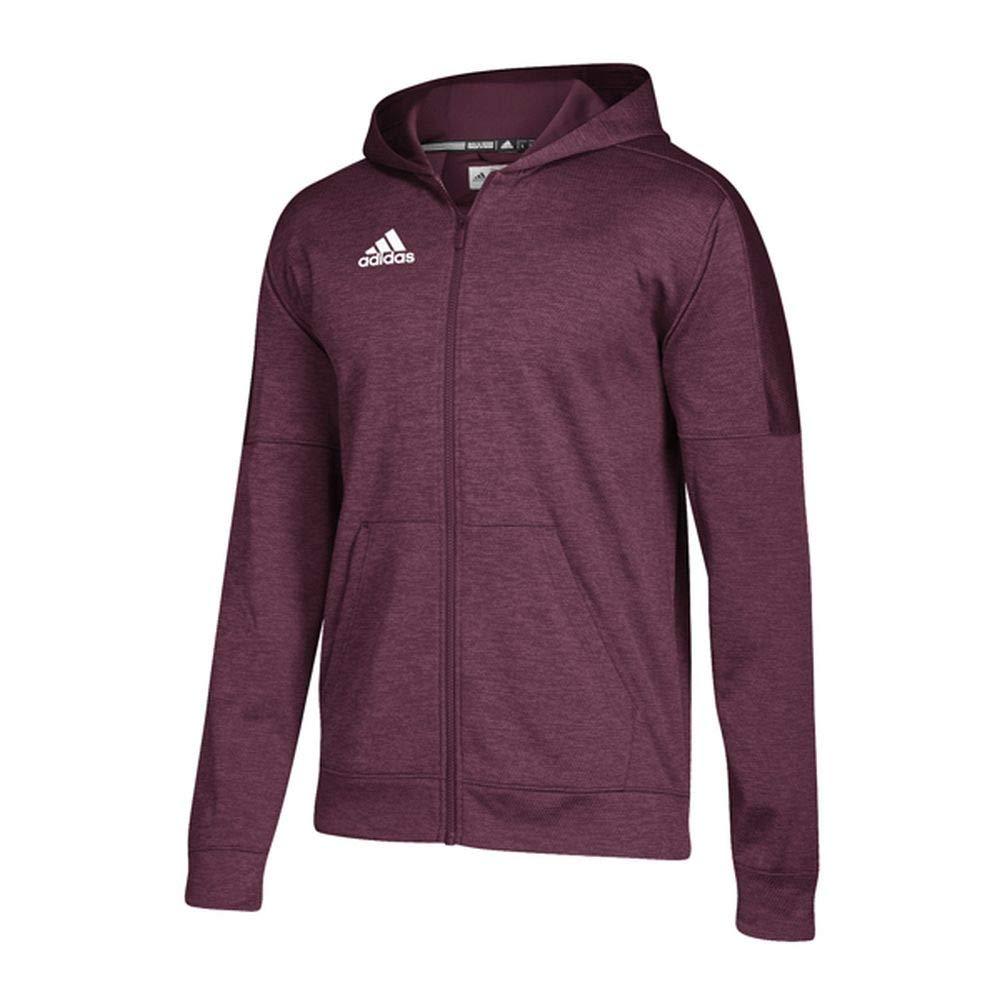 adidas Athletics Team Issue Full-Zip Hoodie, Maroon Melange/White, Large