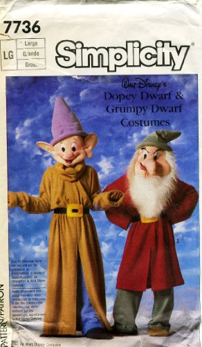 [Simplicity Adult, Boys and Girls Dopey and Grumpy Dwarf Costume Sewing Pattern #7736] (Grumpy Dwarf Costume)