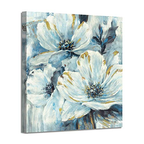 Flowers Artwork Canvas Painting Pictures: White and Teal Lily Pad - Flower Splash with Burst of Spring Canvas Prints for Arts Decoration ( 28'' x 28'' )