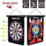 GIGGLE N GO Magnetic Darts Boys Gifts - Very Popular Gifts for Boys and Boys Toys for Age 5 and Above - Reversible and Easy to Set Up, Magnetic Dart Boards, the Safe Indoor Games Option (MONSTER THEME