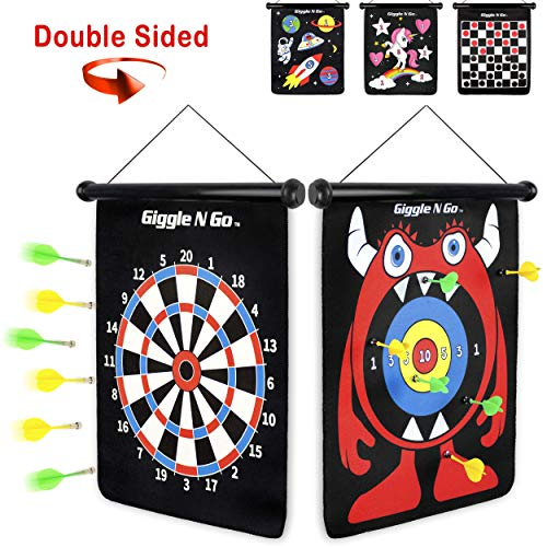 GIGGLE N GO Magnetic Darts Boys Gifts - Very Popular Gifts for Boys and Boys Toys for Age 5 and Above - Reversible and Easy to Set Up, Magnetic Dart Boards, the Safe Indoor Games Option (MONSTER THEME Dart Games For Kids