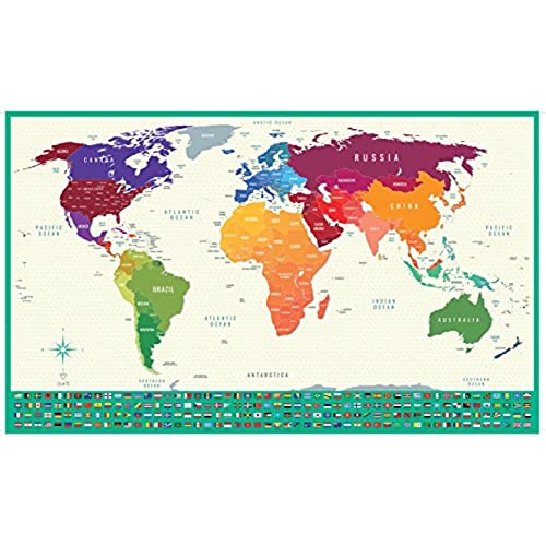 Dukit Scratch Off World Map World Travel Tracker Map Large Size - Large us road map poster