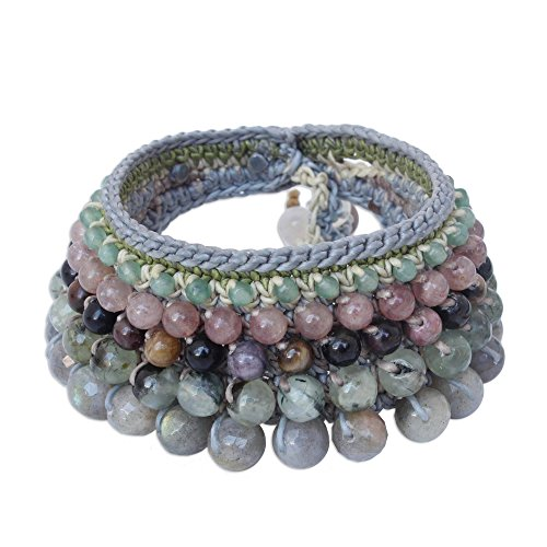NOVICA Multi-Gemstone Labradorite Crocheted Wristband Bracelet, 7 , Bangkok Orchid