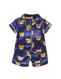 Toddler Kids Baby Boys 2 Piece Pajamas Set Cute Sleep T Shirt Shorts Pajamas Sleepwear