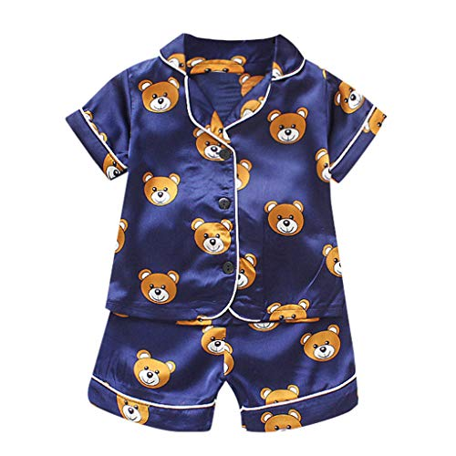 Baby Boys Girl Cartoon Pajamas Toddler Kids Cute Animal Printed Outfit Sleepwear Polo Tops Shorts Clothes Set