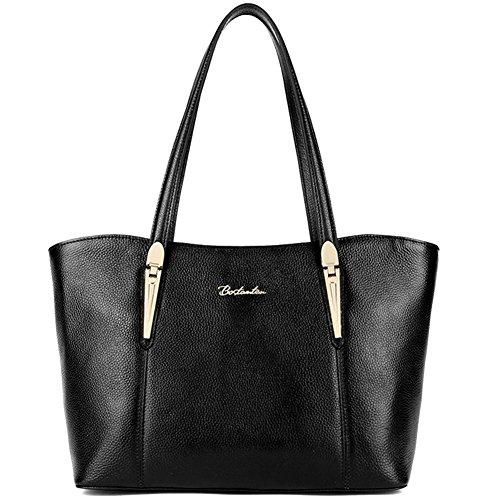 BOSTANTEN Leather Handbags Designer Tote Purse Shoulder Bags for Women Black