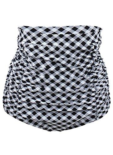 Bikini Halter Plaid (MiYang Women's Vintage 50s Plaid Pattern Halter Bikini Bottom)