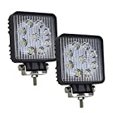 AUXTING 4'' inch 27W LED Work Light Bar Flood Beam Square Driving Lamp Off Road Fog Lights for Truck Car ATV SUV Jeep Boat 4WD ATV,2Pcs
