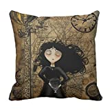 Zazzle Steampunk Girl Throw Pillow 16'' x 16''