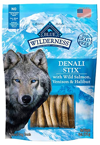 Blue Buffalo Wilderness Denali Stix Grain Free Soft-Moist Dog Treats, with Wild Salmon, Venison, & Halibut 6-oz bag ()