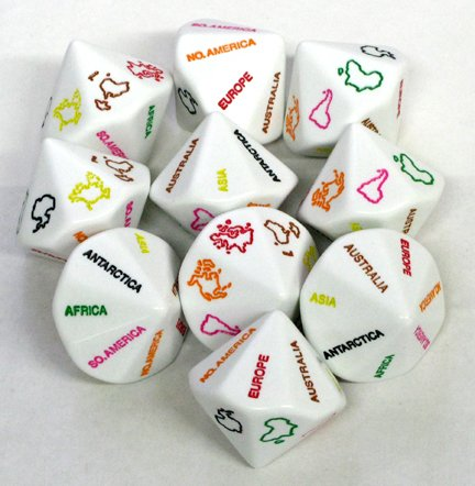 Montessori Color-Coded Continent Dice