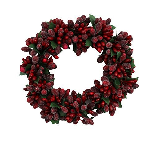 6-inch Christmas Red Beaded Berry Wreath Candlering Candle Ring Ornament (Christmas Pillar Candle)