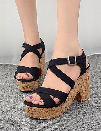 ShangYi Women's Shoes Leatherette Chunky Heel Open Toe Sandals Dress Black / Beige