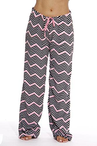 6339-10174-S Just Love Women's Plush Pajama Pants - Petite to Plus Size Pajamas,Chevron - Black / Pink,Small