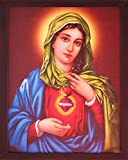 HandicraftStore Maria with Love, Poster Framed in Wood Frame, Elegant, Decorative and Christian Religious