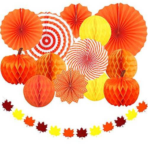 Adoreu Autumn Party Decoration Set Thanksgiving Party Supplies Pumpkins Hanging Paper Fans Honeycomb Maple Leaves Garland Banner for Fall Wedding Birthday Photo Backdrop Home Decoration