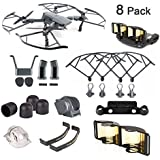 DJI Mavic Pro / Platinum Accessories 8 Pack Combo: Camera Guard with Fixed Lens Protector Cover,Propeller Guard,Landing Gear,Lens Hood,Joystick Protector,Signal Range Extender,Motor Cap,Propeller Clip