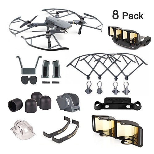 DJI Mavic Pro / Platinum Accessories 8 Pack Combo: Camera Guard with Fixed Lens Protector Cover,Propeller Guard,Landing Gear,Lens Hood,Joystick Protector,Signal Range Extender,Motor Cap,Propeller Clip For Sale