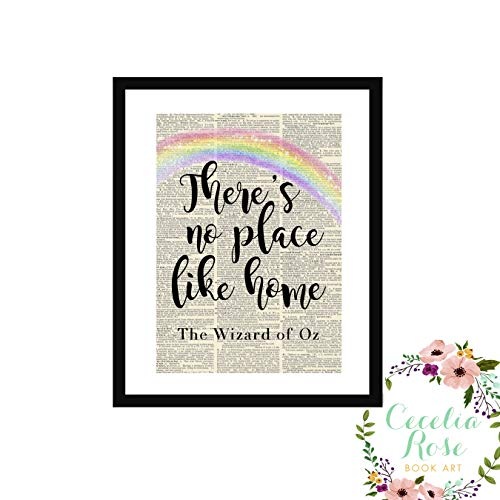 There's No Place Like Home Wizard Of Oz Dorothy Farmhouse Literary Typography Vintage Book Page Word Art Quote Print-Wall Art-Gift 8x10 Unframed Print]()