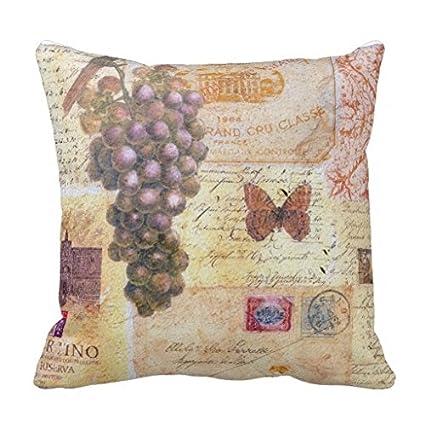 Ropa de cama Vintage uvas funda para cojín de viaje para almohada cuadrada Accent almohadas lienzo