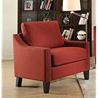 Major-Q 9052492 33 Contemporary Style Wood Frame Nailhead Trim Arm Pocket Coil Seat Chair in Red Linen
