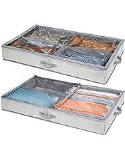 mDesign Förvaring under sängen för kläder och skor – förvaringslåda med 4 fack – platsbesparande klädförvaring – grå – 2-pack