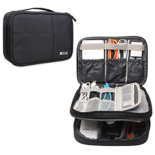 BUBM Double Layer Travel Electronics Accessories Storage Organizer, Portable & Universal Electronics Accessories Bag for Cord, Cables and More, A Pocket for iPad Mini (Medium, Black)