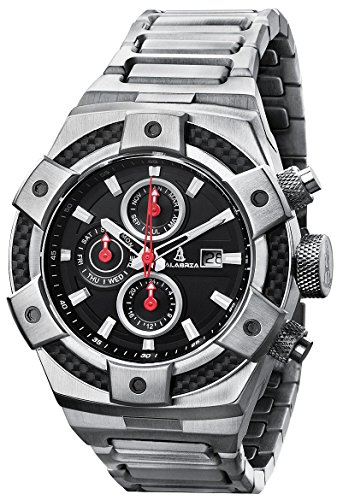 CALABRIA - ARMATO Forte - Black Dial Men's Watch with Carbon Fiber Bezel & Stainless Steel Band ()