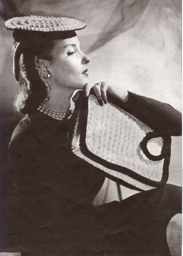 (Vintage Crochet PATTERN to make - 1940s Pancake Beret Hat Bag Purse. NOT a finished item. This is a pattern and/or instructions to make the item only.)