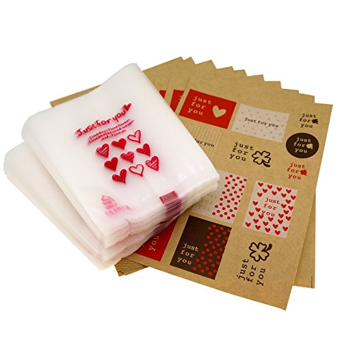 Just for You Red Heart Candy Cookie Bags with Sticker for Gift Packaging, Pack of ()