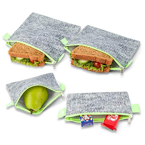 Nordic By Nature Premium Sandwich & Snack Baggies | Designer Set of 4 Pack | Resealable, Reusable and Dishwasher Safe Lunch Bags | Easy Open Zipper | Great Value | -